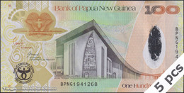 TWN - PAPUA NEW GUINEA 37a - 100 Kina 2008 DEALERS LOT X 5 - 35th Ann. Bank Of PNG - Hybrid - Prefix BPNG UNC - Papua Nuova Guinea