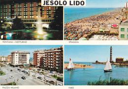 JESOLO LIDO - VENEZIA - 4 VEDUTE - FONTANA IN NOTTURNO - FARO /LIGHTHOUSE - PIAZZA MILANO - PUBBLICITA' COCA COLA - 1971 - Venezia (Venice)