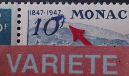 """R1118/274 - 1947 - MONACO - POSTE AERIENNE - N°25 à 27 NEUFS** - VARIETE ➤➤➤ Tache Bleue Sur Le """" 10f """" - Plaatfouten En Curiosa"""