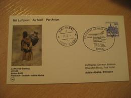 ADDIS ABABA Jeddah Frankfurt 1984 Lufthansa Airline Boeing First Flight Cancel Card ETHIOPIA SAUDI ARABIA GERMANY - Ethiopia