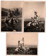 3 Photos Originales Pyramide Humaine De Pin-Up Sexy à La Baignade Ou à La Montagne Sous Le III Reich Vers 1930/40 - Pin-ups
