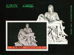 """Bf. 510A Ajman 1972 """" Pietà Vaticana' """" Scultura In Marmo Di Michelangelo Buonarotti Sheet Perf. - Sculpture"""