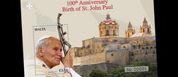 Malta.2020.The 100th Anniversary Of The Birth Of Pope John Paul II.s/s ** . - Popes