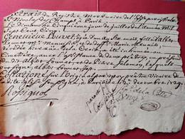 Extrait Du Registre Mortuaire De L'Eglise De St Nicolas Des Champs à Paris - 1729 - Décès Geneviève Louvet  - BE - Gebührenstempel, Impoststempel