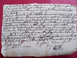 Extrait Du Registre Mortuaire De L'Eglise De St Nicolas Des Champs à Paris - 1729 - Décès Marie-Nicole Louvet - BE - Gebührenstempel, Impoststempel