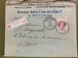 Enveloppe, Ernest Bastin-Schmit à Fouches Oblitéré Hachy 1911, Attert Et Arlon - 1905 Thick Beard