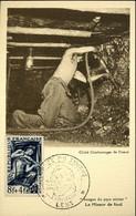Mineur Timbre N°825 Cachet Journée Du Timbre Lens 16 Mars 1949 Charbon Mine énergie Combustible - 1940-49
