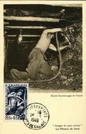 Mineur Timbre N°825 Cachet Ordinaire Bruay Les Mines 16 Mars 1949 Charbon Mine énergie Combustible - 1940-49