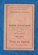 Carte Ancienne D' électeur - Ville De PARIS , 10e Arrondissement - Emile Louis HOUDRET Tailleur - 1946 1947 - Historische Documenten