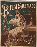 ***  ETIQUETTE *** 19 Eime - Rhum Grenade Importation Direste  E Simon BORDEAUX Contre Collé Sur Papier - - Rhum