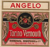 ***  ETIQUETTE *** 19 Eime - Chromo Litho Parafinée -TORINO  VERMOUTH ANGELO  Hartmann Cie BORDEAUX - Labels
