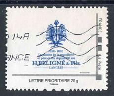 "TIMBRE PERSONNALISE ""type ID Timbre"" Oblitéré ""H.BELIGNE &Fils - LETTRE PRIORITAIRE 20 G Phil@poste"" N° 1-00225001-08 - France"
