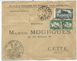 PASTEUR 15C PAIRE MIXTE PA 50C MAROC LETTRE INCOMPLETE FM AVION  CASABLANCA 9.4.1925 POUR CETTE + SECTION DE C.O.A. - 1922-26 Pasteur