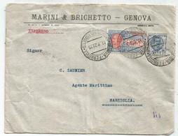 ITALIA 1.25+ 2.50 ESPRES LETTERA GENOVA FERROVIA 11.8.27 POUR FRANCE - Storia Postale