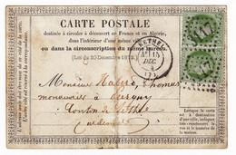 Carte Postale Rethel 1873 Ardennes Paire Cérès 5 Centimes  YT  # 53 Cachet Gros Chiffre 3117 - 1871-1875 Cérès