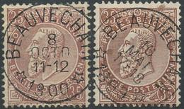 NB - [62079]TB//O/Used-Belgique 1893 - N° 61, Deux Exemplaires Sans Bandelette Obl Concours Relais '* Beauvechain *', Fa - 1893-1900 Schmaler Bart