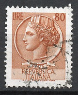 Italie - Italy - Italien 1968-72 Y&T N°1005 - Michel N°1265 (o) - 80l Monnaie Syracusaine - Fluorescent - Filigrane * - 1961-70: Usados