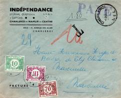 Lettre (facture) Non Affranchie De Charleroi Vers Marcinelle Taxée 1,80 F (TX33, TX41 Et TX43) - Postage Due