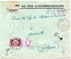 Lettre Non Affranchie De Bettembourg (Chemins De Fer Luxembourgeois) Vers Marcinelle Taxée 2,70 F (TX41 Et TX47) - Postage Due