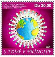 SAO TOME E PRINCIPE 2020 - FULL SET 1 STAMP - JOINT ISSUE - COVID-19 PANDEMIC - CORONA CORONAVIRUS - MNH - Emisiones Comunes