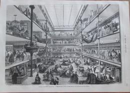 GRAVURE  1869  PARIS 75010    MAGASINS DE LA VILLE DE SAINT DENIS    Rue Du FAUBOURG SAINT DENIS - Prints & Engravings