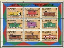 GAMBIA / MiNr. 1210 - 1218 / Güterzugbegleitwagen / Postfrisch / ** / MNH - Trenes