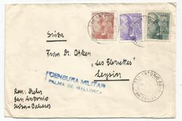 ESPANA 10C+20C+40C  LETTRE COVER SAN ANTONIO BALEARES 1940 TO SUISSE + CENSURE PALMA DE MALLORCA - 1931-50 Storia Postale
