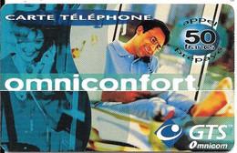 CARTE-PREPAYEE-OMNICONFORT-50F-HOMME-Monde-V° BLEU-31/05/2001-V° PTN° Lasers Gras /Fond Blanc-N°Série Vert Droite TBE - Prepaid-Telefonkarten: Andere