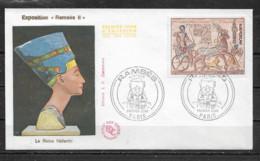 FRANCE  FDC  Exposition Ramsès II  (PARIS  4 Septembre 1976) - Egyptology
