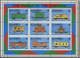 GAMBIA / MiNr. 1228 - 1236 / Güterzugbegleitwagen / Postfrisch / ** / MNH - Trenes