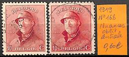 D - [830939]TB//O/Used-Belgique 1919 - N° 168, Nuances, Oblit Centrale, Familles Royales, Rois - 1919-1920 Trench Helmet