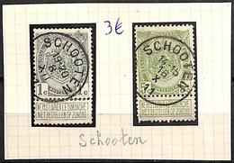 D - [832284]B/TB//O/Used-Belgique 1907 - N° 81 Et 83, SCHOOTEN, Armoiries - 1893-1907 Wappen