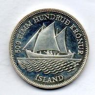 ICELAND, 500 Kronur, Silver, Year 1986, KM #30 - Iceland