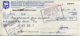 South Africa Homeland Bophuthatswana 1985 - Cheque Standard Bank - Chèques & Chèques De Voyage