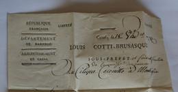 Italie 1802 (18 Vendémiaire An 11) – Cachet Noir : Département De Marengo –Sous-Préfecture Casal – COCONITTO Montiglio - 1. ...-1850 Prefilatelia