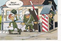 """CPM HUMOUR: MILITAIRES, Soldats, Dessin Par Jean-Pol N°22.010/41 Insouciance ...""""SALUT LES COPAINS!"""" - Humor"""