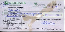 South Africa Pretoria 1998 - Cheque Nedbank WWF Trust - Chèques & Chèques De Voyage