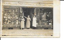 A Identifier - Photo Carte - Commerce - Chapellerie W. Bonhomme-Delrez - Confection - 2 Scans. - Negozi
