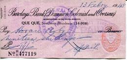 Southern Rhodesia Bulawayo 1945 - Cheque Barclays Bank - - Chèques & Chèques De Voyage