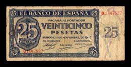 España Spain 25 Pesetas Burgos 1936 Pick 99 Serie Q BC F - 25 Pesetas