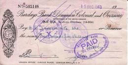 Southern Rhodesia 1943 - Cheque Barclays Bank Que Que - - Chèques & Chèques De Voyage
