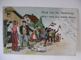 """1914-18 Litho """"Gruss Von Der Aushebung Muss I Denn Zum Städtle Hinaus"""" - Guerra 1914-18"""