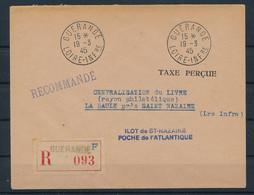 DS-462: FRANCE: POCHE DE ST NAZAIRE Courrier Rec Du 19-3-45 Avec Griffe Taxe Perçue (Guerande) - Kriegsausgaben