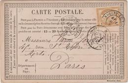 Eure Et Loir, N°55 O. Cad T17 Nogent Le Rotrou 1876 / CP Précurseur - 1849-1876: Klassieke Periode