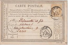 Var, N°55 O. Cad T17 Draguignan 1876 / CP Précurseur - 1849-1876: Klassieke Periode
