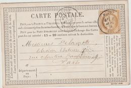 Côte D'Or, N°55 O. Cad T17 Dijon 1876 / CP Précurseur - 1849-1876: Période Classique