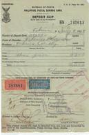 Philippine 1928 Postal Savings Bank Deposit Slip With $1 & $2 Savings Stamps - Philippines