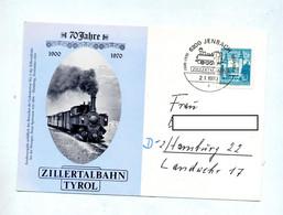 Carte Cachet Jenbach 70 Ans Ligne Train Zillertal - Affrancature Meccaniche Rosse (EMA)