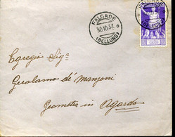 59765 Italia,busta Viagg.1937 Da Falcade Belluno A Agordo, C.50 Cesare Augusto, Roman Emperor,Empereur Romain - Storia Postale