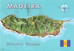 Portugal Madeire Madeira Carte Geographique + Timbre 2 Timbres - Madeira
